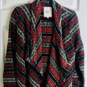 Oversized Black and Red Chevron Sweater